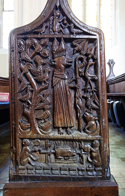 St Michael's church, Brent Knoll - bench end (1)