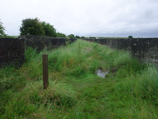 St Cuthbert's Way, St Oswald's Way, and the Northumberland Coastal Path between rows of tank traps at Beal Sands