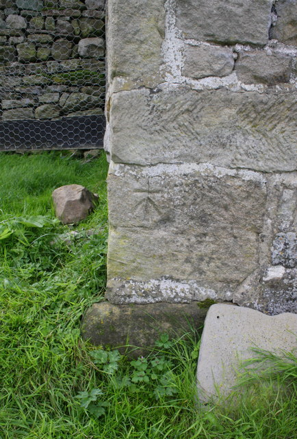 Benchmark on building at Sowden Beck Farm
