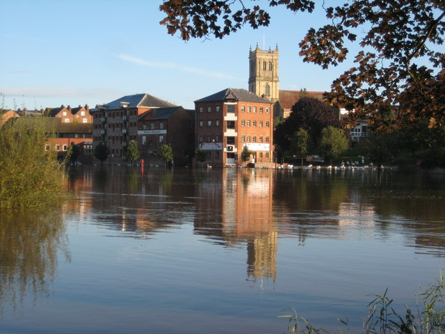 Flooded River Severn in Worecester