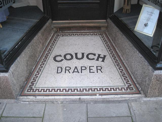 Mosaic floor, shop doorway, Station Road