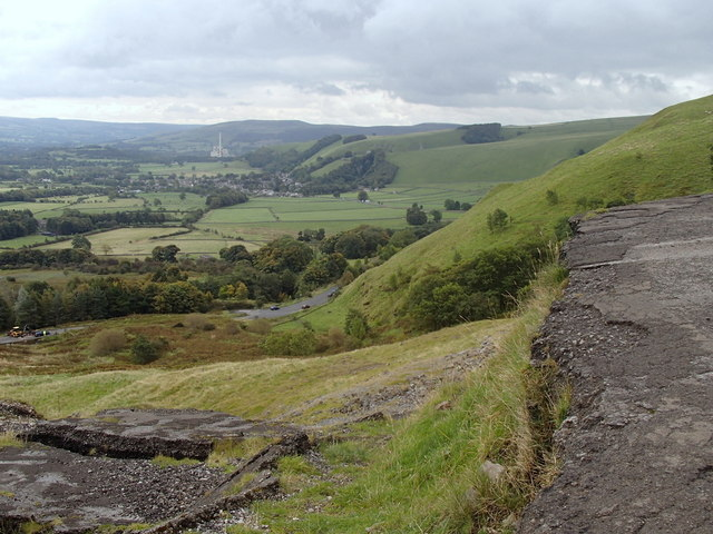 Former Mam Tor road above the Hope valley