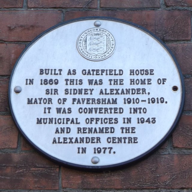 Plaque on the Alexander Centre, Faversham