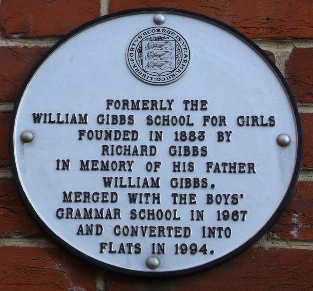 Plaque on William Gibbs School, Faversham