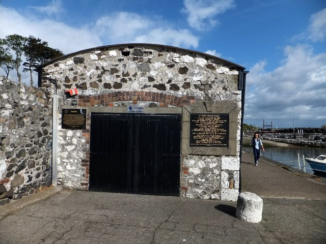 Carnlough boathouse on the harbour