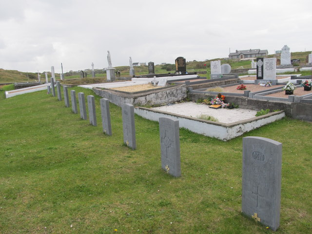 Graves of men lost in the Battle of the Atlantic at Cill Bhride Cemetery