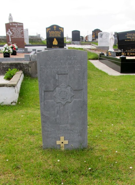 The grave of 5619912 Pte P.T.Clarke of the 4Bn Devonshire Regiment at Cruite Island Catholic Cemetery (Cill Bhride)