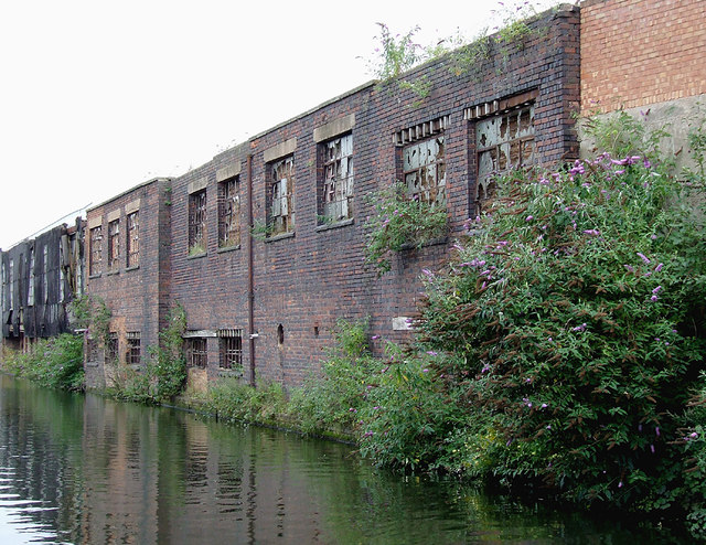 Derelict canal-side factories near Saltley, Birmingham