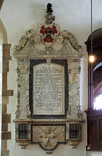 All Saints church, Selworthy - monument to William Blackford