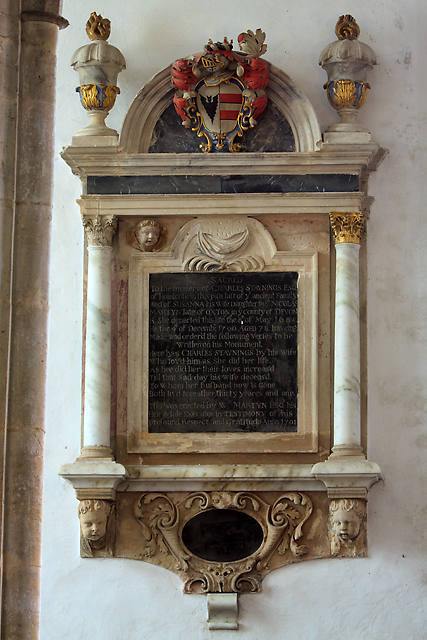 All Saints church, Selworthy - monument to Charles Staynings