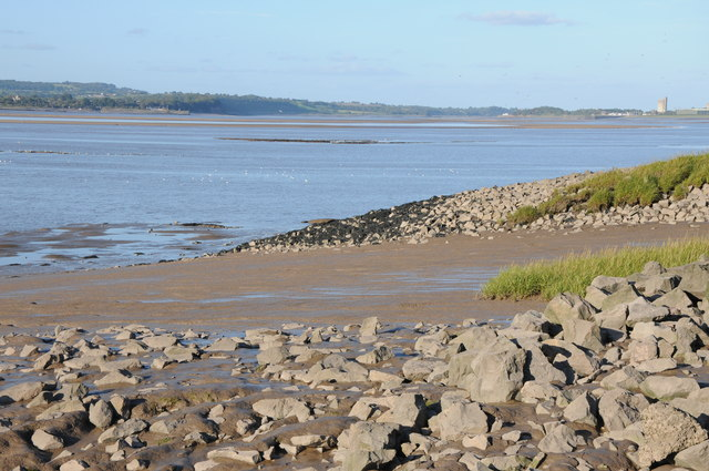 View up the Severn estuary to Sharpness