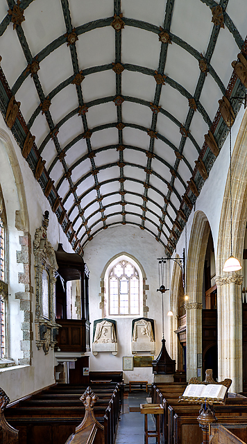 All Saints church, Selworthy - south aisle roof