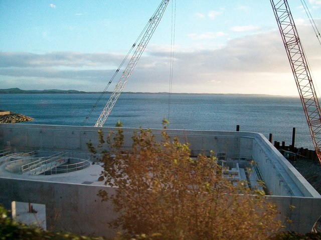 New sewage works under construction at Newcastle Harbour