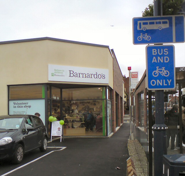 Barnardo's behind the bus stop