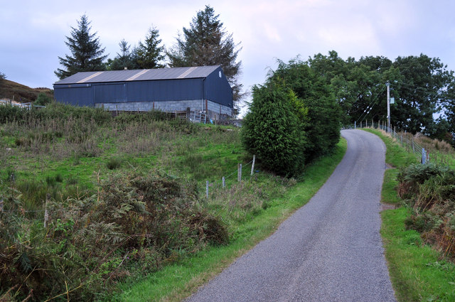 Minor road past the farm at Ardconnel