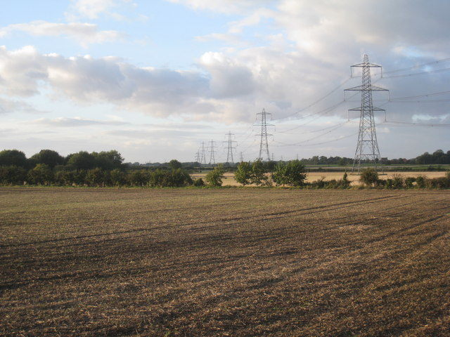 Fields and pylons near Hardwick Farm
