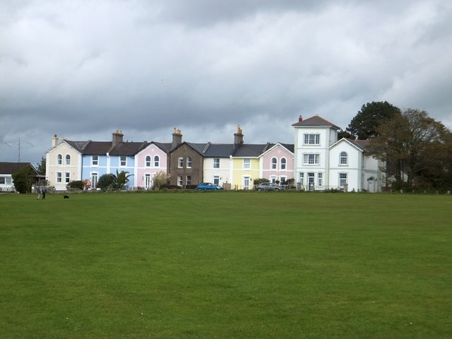 Multicoloured houses overlooking Daddyhole Plain