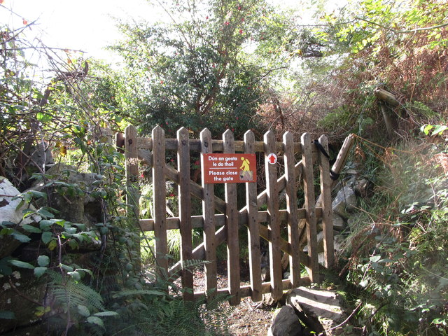 Gate on the public footpath leading to the Carlingford Commons