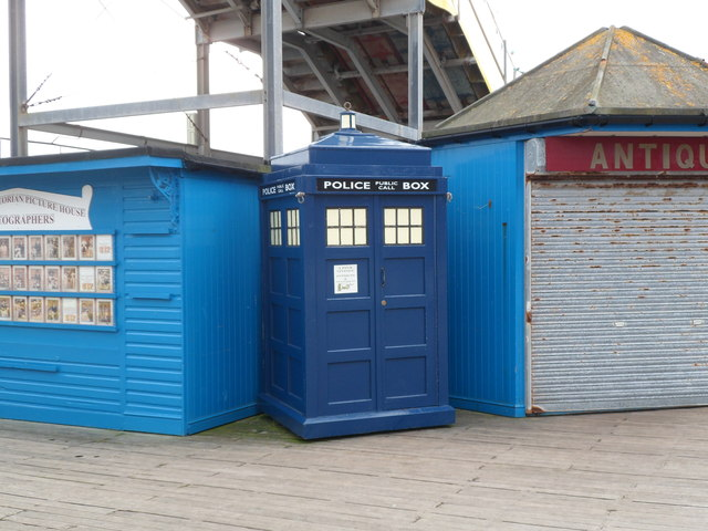 The TARDIS lands on the pier, Llandudno