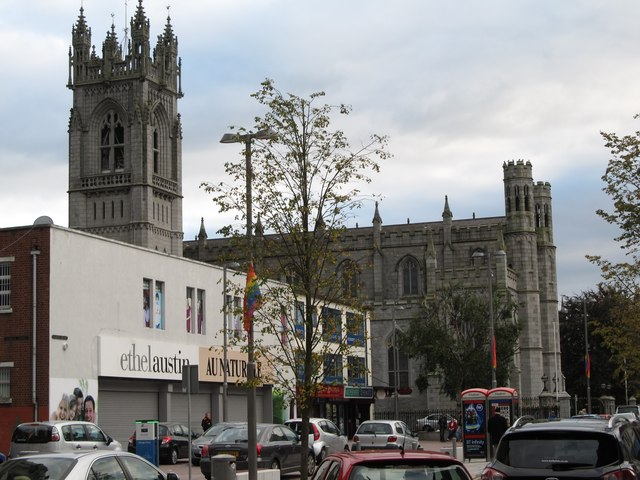 Gay Pride flags flying outside Newry Cathedral