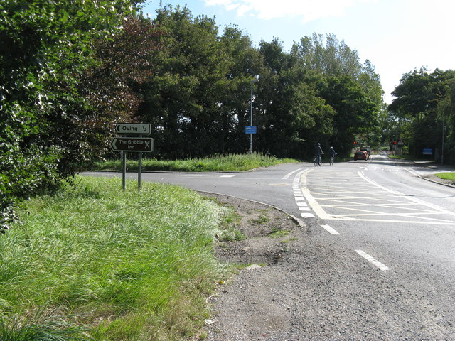 Signpost for Oving and The Gribble Inn