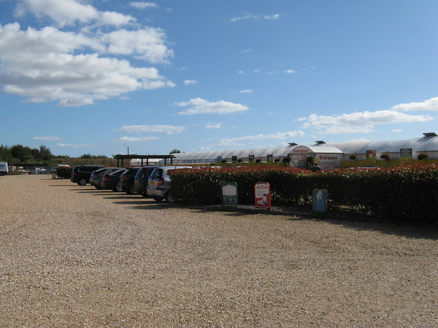 Car park and entrance to the Brick Kiln Garden Centre