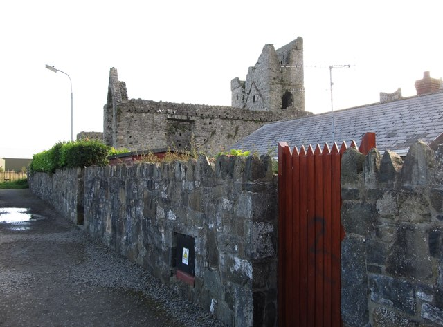 Carlingford Priory from the footpath