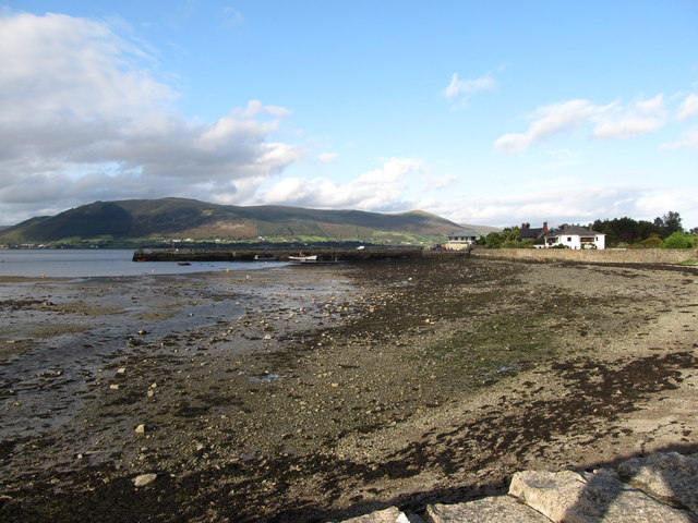 View east across the harbour at Carlingford at low tide