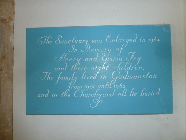 Holy Trinity, Godmanstone: memorial (f)