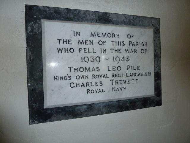 Holy Trinity, Godmanstone: war memorial (1939-1945)