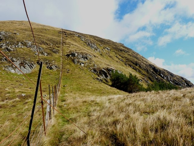 Up the fence towards Meall Garbh