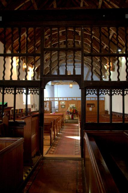 Aisle and Altar, St Cewydd's Church, Aberedw, Powys