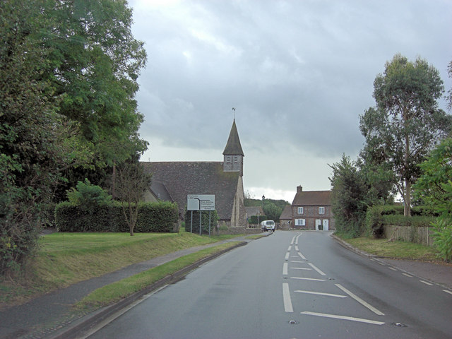 Midhurst Road passes the Church of St Nicholas