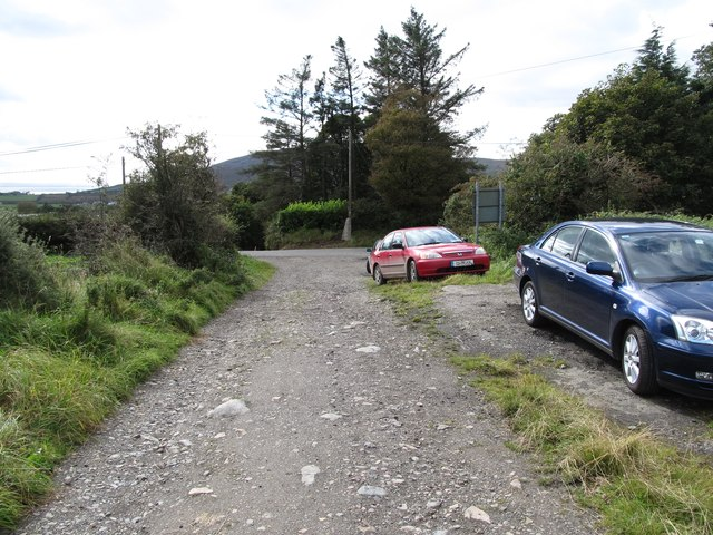 Walkers' cars parked below the gate leading to the Carlingford Mountain section of the Tain Way