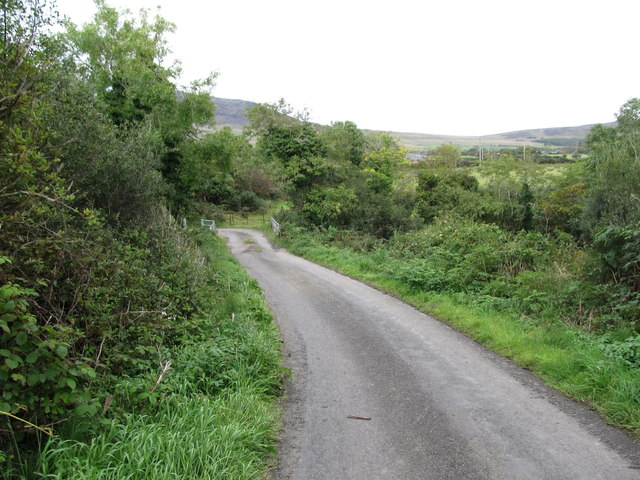 The Ballygoly Road descending towards the bridge over the Big River