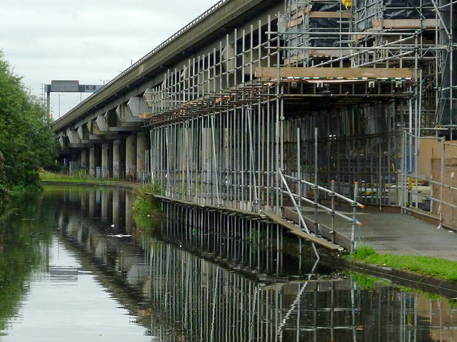 Canal, M6 flyover and scaffolding near Gravelly Hill