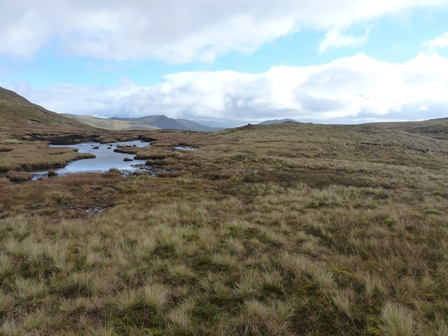 Shallow peaty pool near Meall Garbh