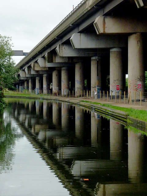 Canal and M6 flyover near Gravelly Hill, Birmingham