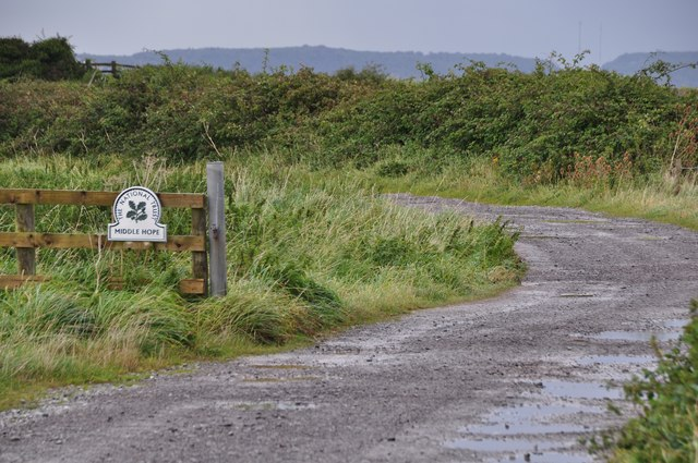 North Somerset : Small Road & National Trust Sign