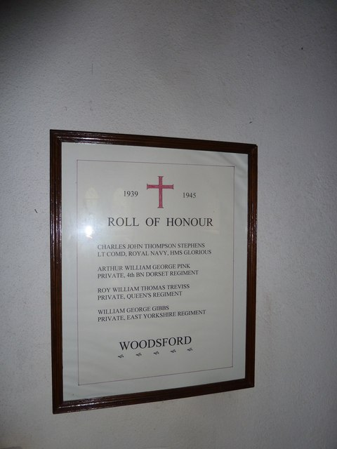 St John the Baptist, Woodsford: 1939-45 war memorial