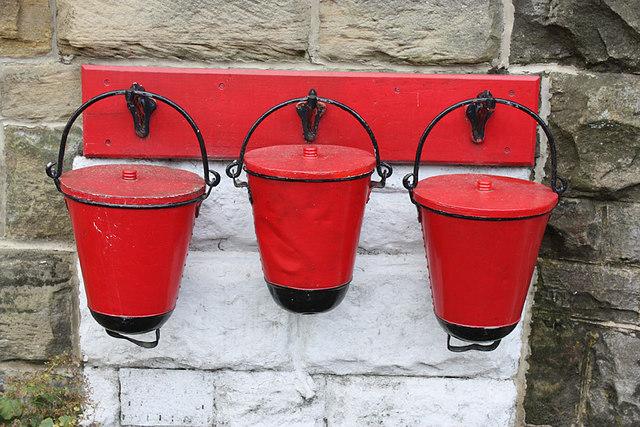 Fire buckets, Goathland station platform