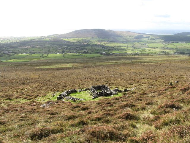 Ruined sheep pens on the western slopes of Slieve Foye
