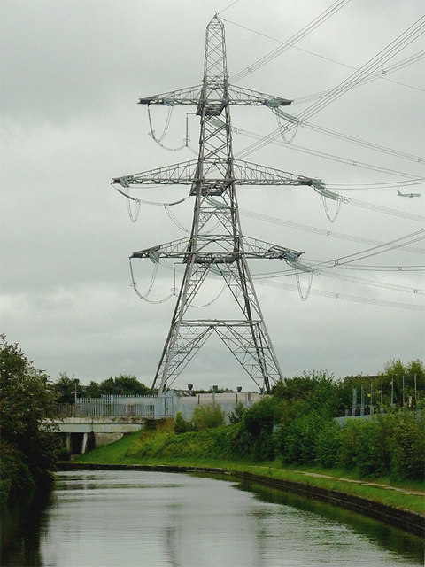Canal and pylon south of Gravelly Hill, Birmingham