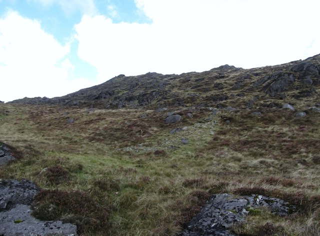 View upslope towards the summit of Slieve Foye