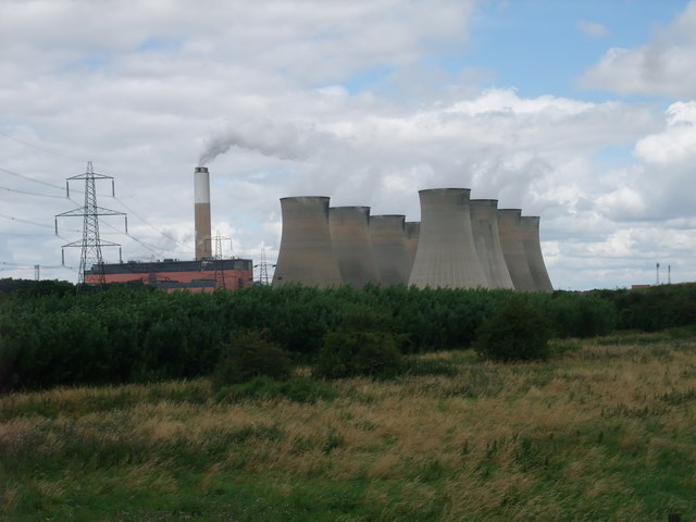 Plantation surrounding Cottam power station, viewed from the Trent Valley Way