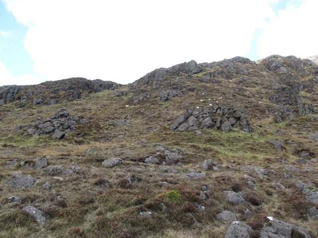 Rock outcrops on the upper, southern, slopes of Slieve Foye