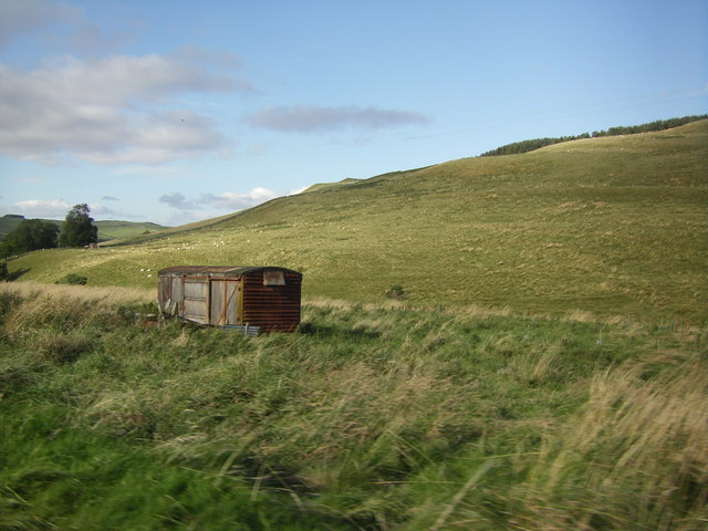 Old Railway Wagon by road to Greenhill