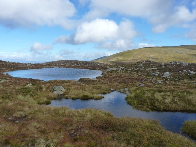 Lochan and pool on the east ridge of Meall Garbh