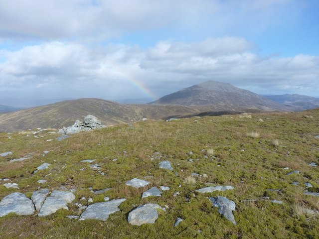 A cairn, a  rainbow and a Munro