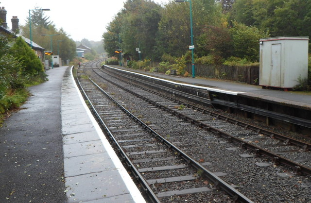 A view east along Llanwrtyd railway station